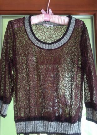 Кружевная блуза с шерстяными манжетами