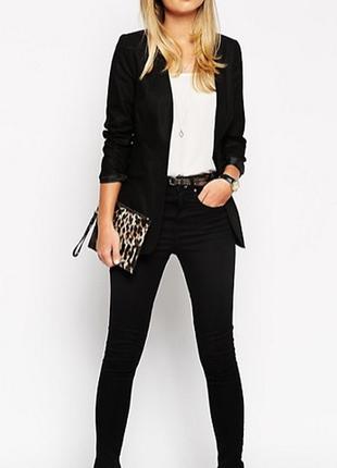 Брендовый черный пиджак жакет блейзер с карманами m&co лен вискоза этикетка