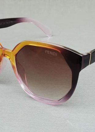Fendi очки женские солнцезащитные коричневые с розовым