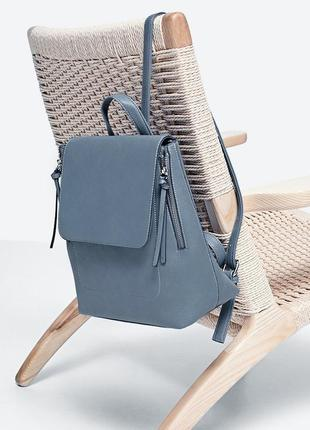 Рюкзак серо-голубой stradivarius