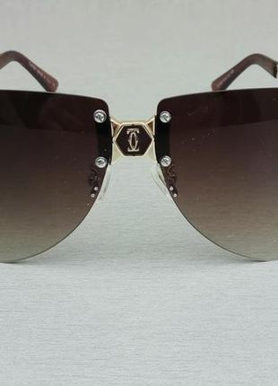 Cartier очки женские солнцезащитные коричневые с золотом