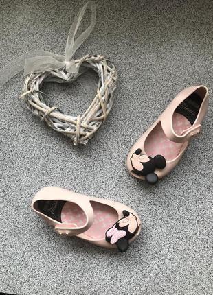 Туфельки mini melissa пудрові мінні міккі маус, туфли minney mouse