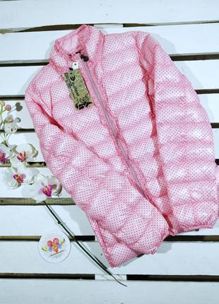 Весенняя нежно-розовая  куртка принт горох