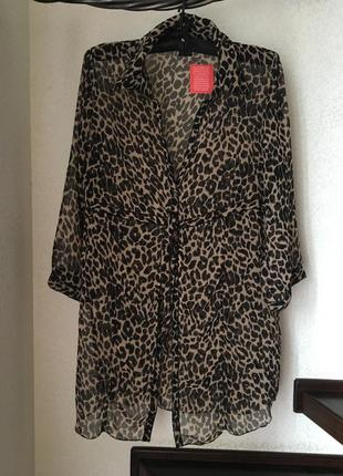 Блуза рубашка туника накидка шифоновая леопардовая