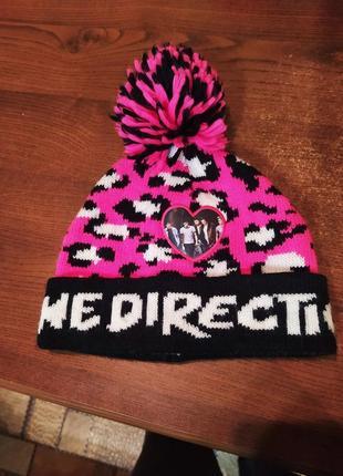 Вязаная розовая шапка леопардовый принт