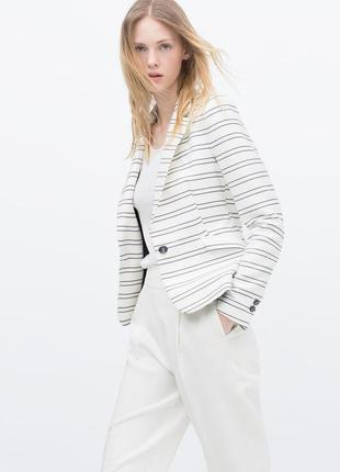 Пиджак в полоску блейзер женский zara с