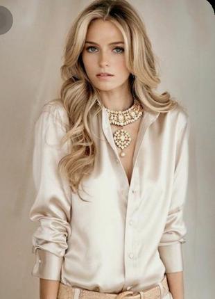 Атласная пудровая блузка h&m, 36 р.