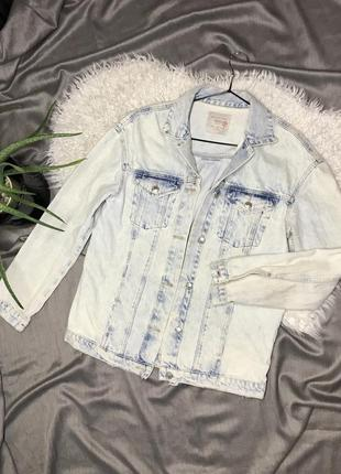 Премиум zara джинсовка оверсайз с потертостями джинсовая куртка под винтаж