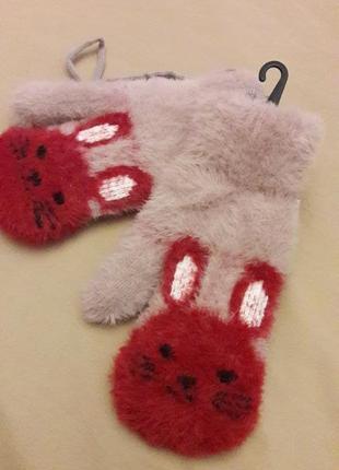 Варежки на меху кролики 3-8 лет теплые