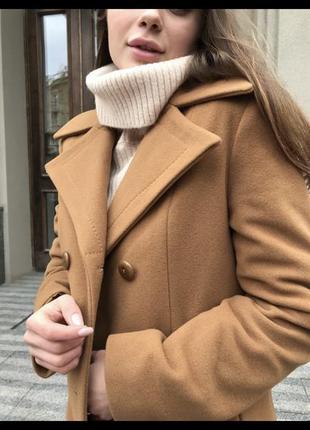 Коричневое пальто пиджак из шерсти с кашемиром