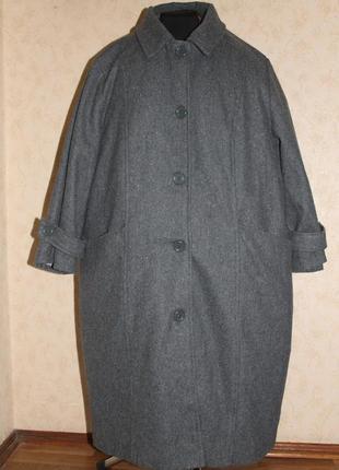 Демисезонное шерстяное пальто большого размера оверсайз oversize