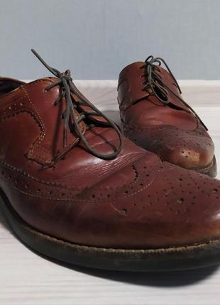 Коричневые туфли оксфорды броги