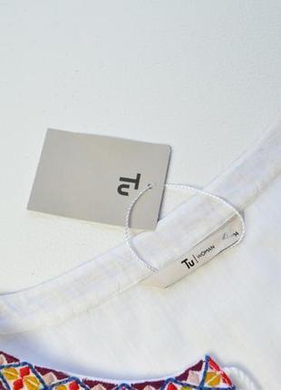 Красивая белая блуза с вышивкой хлопок4 фото