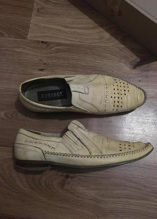 Фирменные кожаные туфли мокасины с деревянным каблуком everest р 42-43