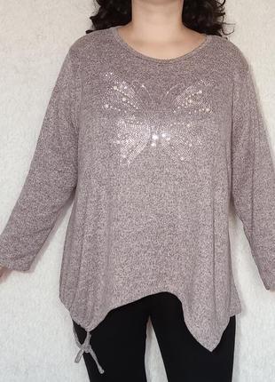 Нежный меланжевый ассиметричный свитер оверсайз, италия
