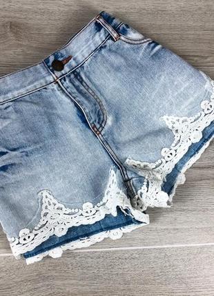 Крутые короткие джинсовые шорты с ажуром 3xl denim co