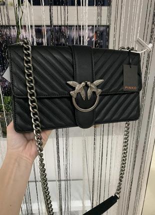 Кожаная сумка сумка кожаная на цепочке через плечо кроссбоди pinko