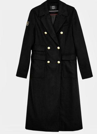 Чёрное пальто из шерсти  длинное