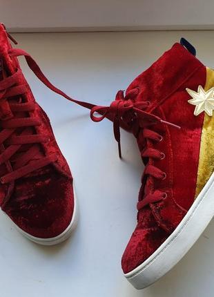 Кеды ботинки clarks красные комби велюр 34 размер на девочку