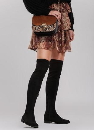 Новые шикарные женские черные весенние сапоги ботфорты