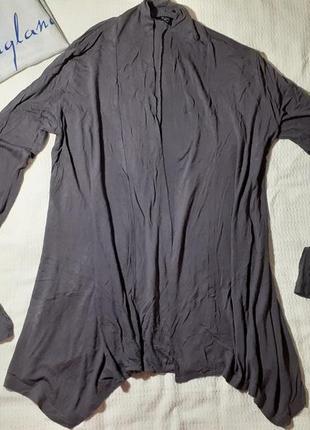 Кардиган накидка кофта свитер реглан тонкий трикотажный длинный удлиненный