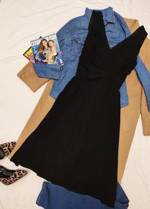Чёрное платье шифоновое на подкладке миди классическое вечернее definitions