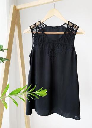 Чорна блузка майка с кружевом guess