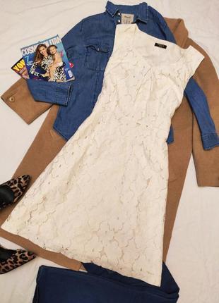 Платье белое бежевое ажурное кружевное на подкладке миди precis petite