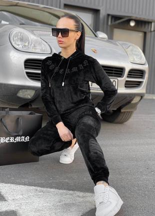 Женский спортивный костюм/черный женский костюм/женский костюм черный