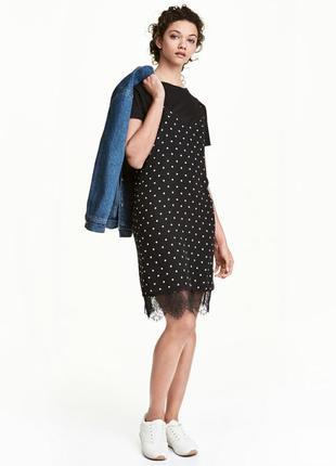 Крутое платье слип в бельевом стиле в горох h&m 44