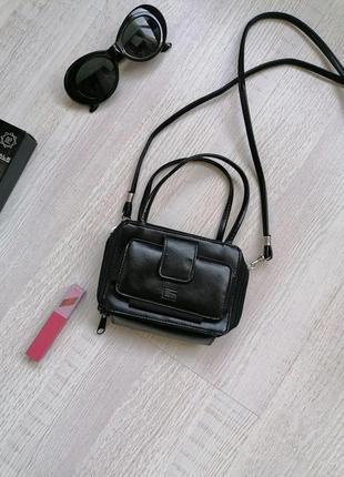 👜маленькая чёрная сумка-кошелек через плечо 👜микро - сумка, органайзер