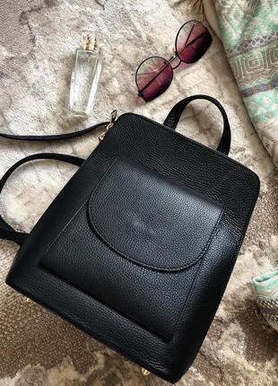 Рюкзак чёрный кожаный женский италия