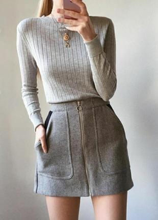 Шерстяная мини юбка на молнии zara высокая посадка
