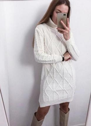 Вязаное платье туника свободный крой гольф длинный свитер кофта трендовое модное стильное