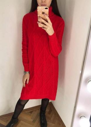 Вязаное платье туника свитер кофта гольф стильные трендовое модное