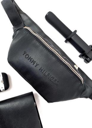 Новая шикарная стильная бананка сумка кожа pu / tommy / сумка через плече
