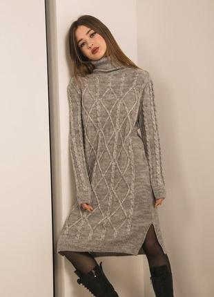 Вязаное платье туника гольф свитер кофта трендовое стильное модное