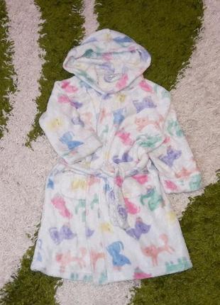 """Модний махровий халат з котиками, """"lindex"""", розмір 98-104"""