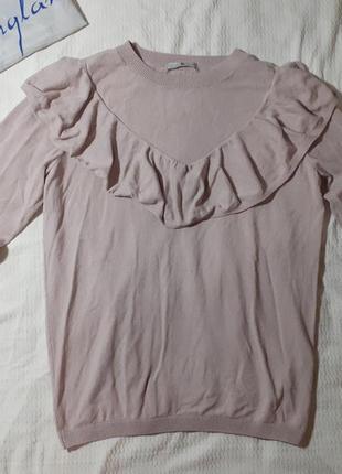 Свитер кофта реглан свитшот с воланами на груди стильный лиловый сиреневый пудра пудровый