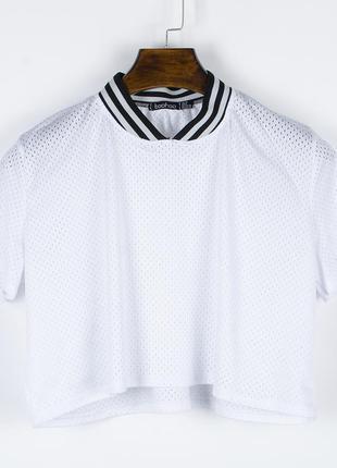 Белая футболка сетка, короткая футболка белая, прозрачная футболка женская