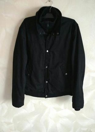 Черная мужская деми куртка бомбер h&m