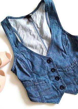 Красивая синяя джинсовая хлопковая жилетка жилет пиджак жакет без рукавов от h&m