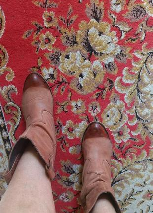 Кожаные казаки на широкую ногу 25 см