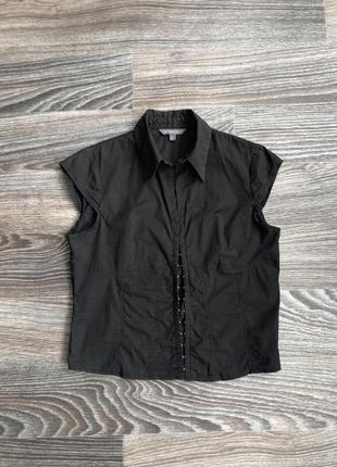 Черная хлопковая блузка блуза блузочка рубашка сорочка с застежкой крючки от atmosphere