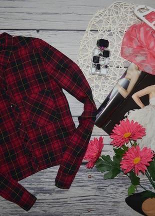 2/32/xxs-xs h&m модная натуральная фирменная укороченная рубашка стильной девушке клетка