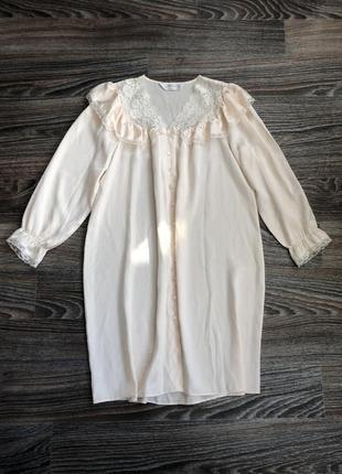 Шикарная светло персиковая атласная ночнушка ночная сорочка рубашка с кружевом st. michael