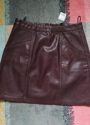 Кожаная юбка new look бордового коричневого цвета с карманами на змейке
