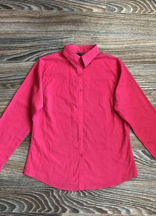 Розовая хлопковая классическая рубашка рубашечка от premier