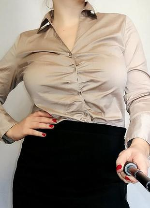 Рубашка в цвете мокко s. oliver на 14-16/50-52 размер