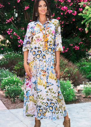 Новинка длинное яркое платье рубашка с вышивкой бисером индиано код 2558